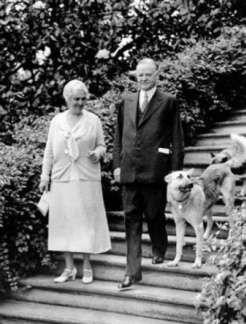 Президент США Герберт Гувер и собака