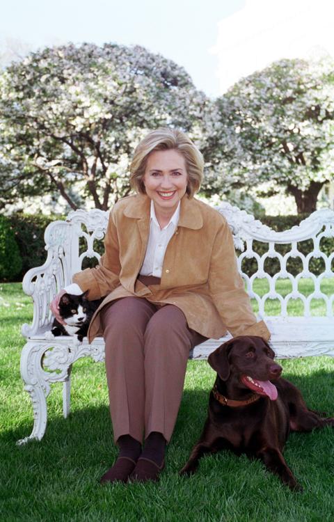 Собака Бадди и Хиллари Клинтон