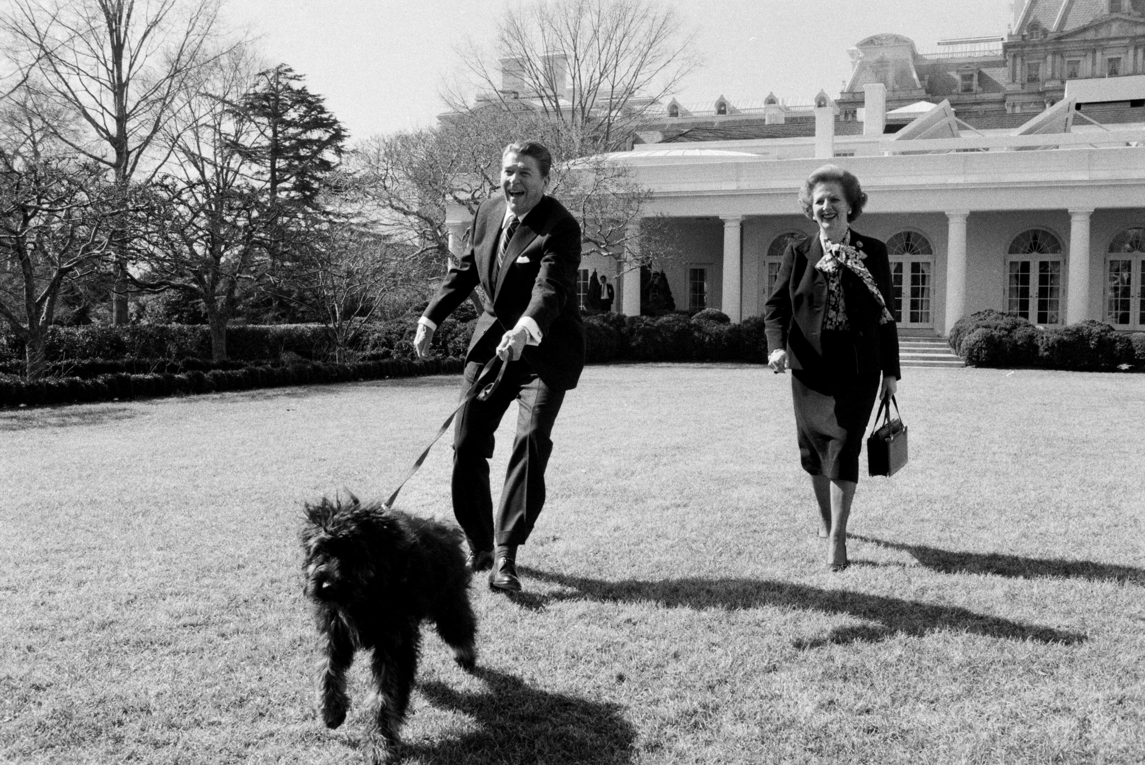 Рональд Рейган гуляет с собакой