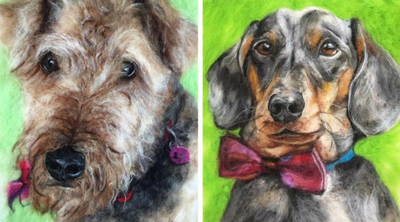 Портреты собак из шерсти