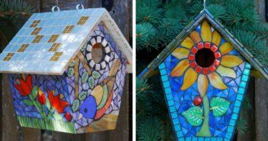 Декор скворечника керамической мозаикой: 28 красивых идей